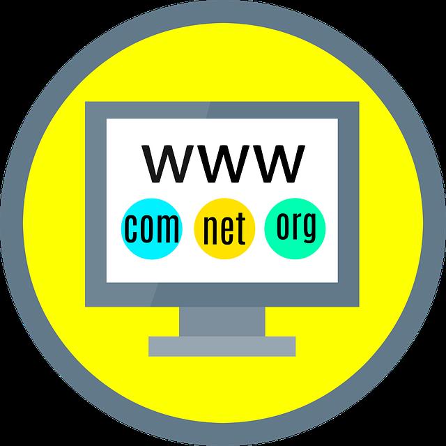 zkratky mezinárodních domén na obrazovce kresleného počítače
